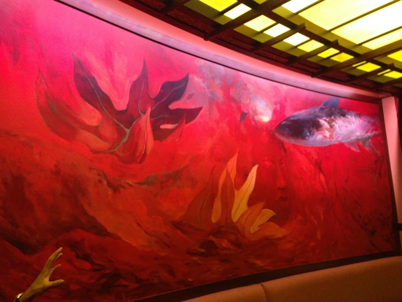 マカヒキ店内のこの絵画、ハワイに伝わる火の神