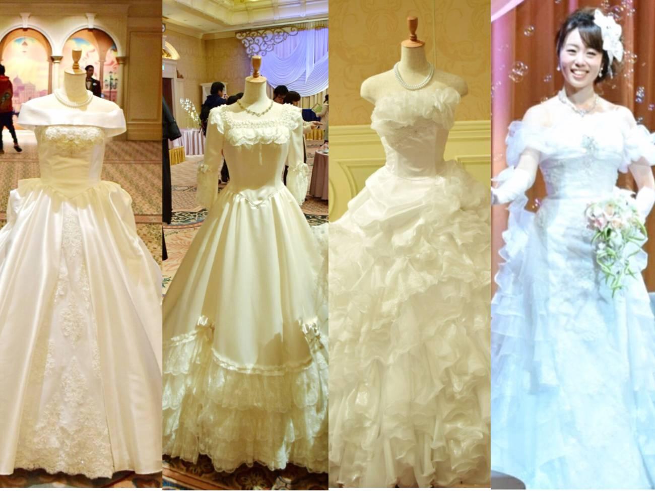 結婚式当日、どんなウェディングドレス、カラードレスを着ようか、ということではないでしょうか? ホテルミラコスタでは、オリジナルのウェディングドレス、カラー