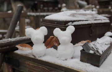 ミッキーとミニーの雪だるま