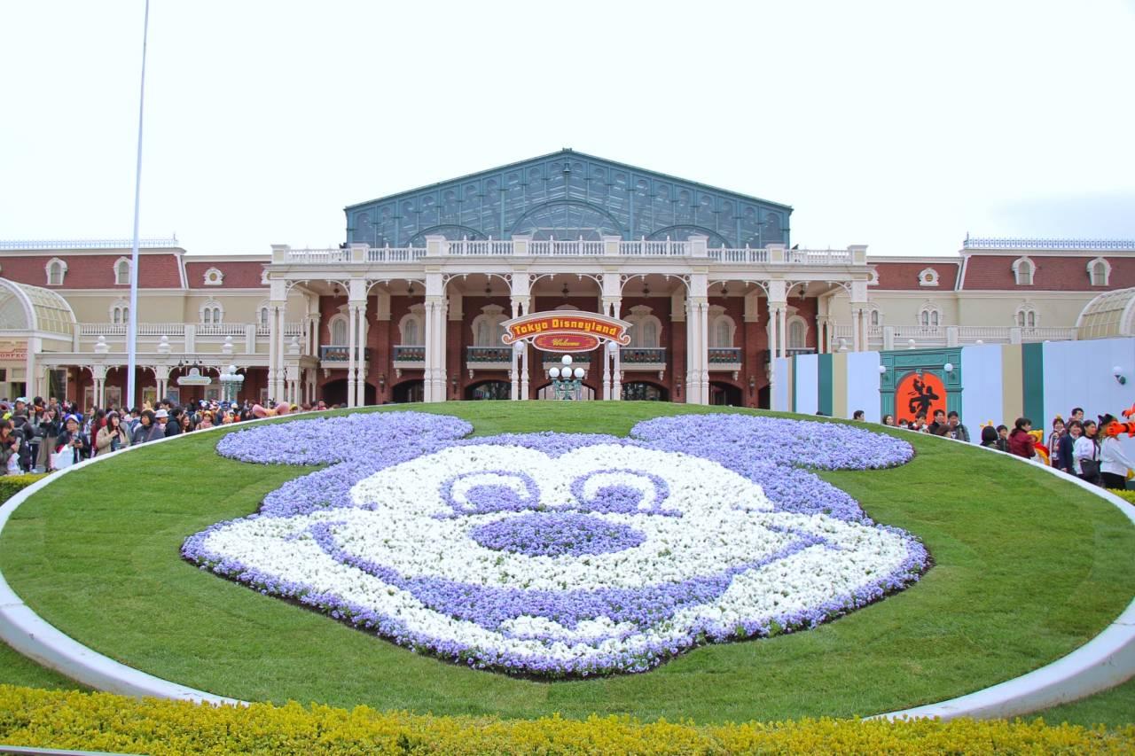 ディズニーランドのエントランス前の花壇